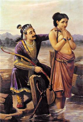 Painting of Satyavat, standing with her back turned to King Shantanu