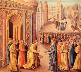 Painting of two men meeting in front of a city gate. Both men are in front of crowds of other people. The one on the left is bareheaded and holds his hat in one hand while he bows to the other figure, who is dressed in blue embroidered robes and wears a crown.
