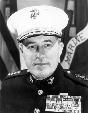 A black and white image of Raymond Davis, a white male in his Marine Corps dress uniform