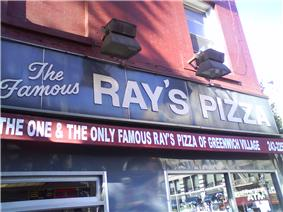 One of many Ray's Pizza restaurants in New York City, Famous Ray's was at 6th Avenue and 11th Street in Greenwich Village, Manhattan