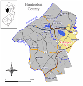 Map of Readington Township in Hunterdon County. Inset: Location of Hunterdon County highlighted in the State of New Jersey.