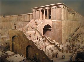 a drawing showing a wide staircase leading up from a crowded street then turning right with steps ascending over a series of arches before turning right once again and going over a final large arch spanning the street below and passing under the columned gateway high above the streets below