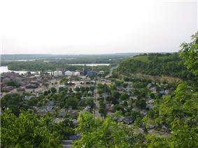 A look toward downtown Red Wing and the Mississippi River, with Barn Bluff on the right.