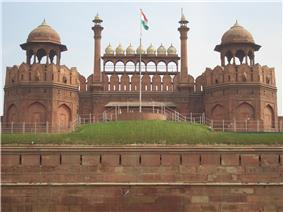 Red Fort with the Indian Flag at the center