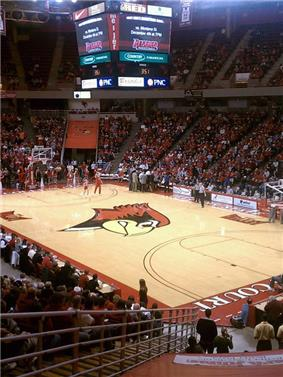 Interior of Redbird Arena during a timeout during a game between the Illinois State University Redbirds and University of Nevada-Las Vegas Rebels on December 1, 2010