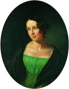 Portrait of a young lady. She is wearing a dress under a coat. She is looking to the left, somewhat smiling.