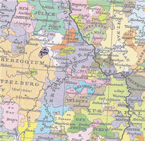 A small territory is highlighted in a map, near the territories labelled Archbishopric of Trier, the Duchy of Jülich and the Duchy of Lützelberg