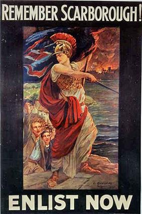 Britannia stands in front of a group of men holding various armaments, looking out over a scene of burning houses. The caption reads