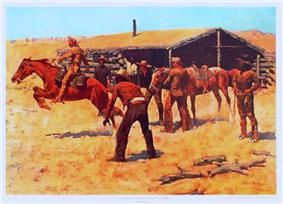 Coming and Going of the Pony Express. Painting by Frederic Remington