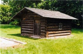Exterior view of a replica of a cottage from the original village of Fairfield