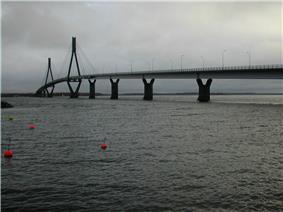 The Replot Bridge on a grey autumn day