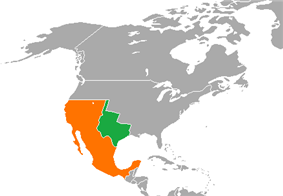 Map indicating locations of Republic of Texas and Mexico
