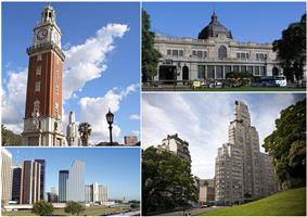 Clockwise from top: The Monumental Tower, the Retiro Station, Catalinas Norte in the Central Business District and the Kavanagh Building with the San Martín Plaza.