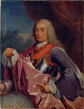 Painting showing half of a young man wearing a silver armour breast plate with a purple velvet suit with a powdered whig