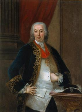 Painting showing half of a young man wearing a silver waistcoat with a blue velvet suit with a powdered whig