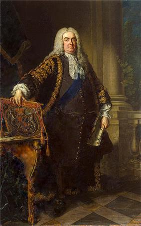 In a full-length portrait, an overweight middle-aged man stands, legs slightly apart, with his right hand resting on the top of a coat of arms, leant on the top of an ornate table.  In his left hand he holds a large white document.  He is dressed in expensive 18th-century clothing, with a blue sash over his left shoulder, and a long grey wig.  Behind him, a large pale column of stone rises from a tiled floor.  A balustrade connects to the column, and a small green plant is visible.