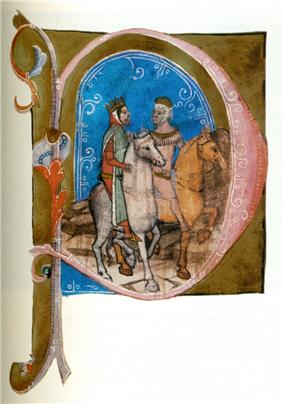 Two crowned men, each riding a horse
