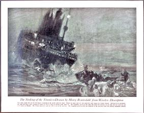 Painting of a sinking ship with a lifeboat being rowed away from it in the foreground.