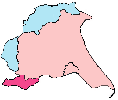 Outline map of the historic and ceremonial East Riding of Yorkshire boundaries