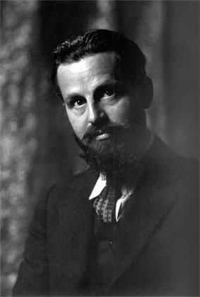 Portrait photograph of author Rex Stout at age 35, photographed by Arnold Genthe