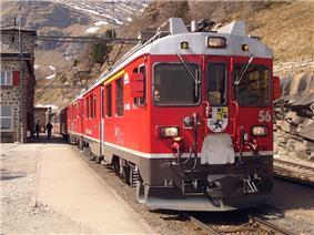 ABe 4/4 56 and 55 at Alp Grüm.