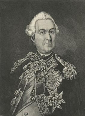 A black and white half-length engraved portrait of Bellomont. He wears a uniform adorned with military honors.