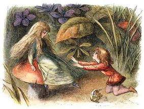 girl with waistlength hair sits on a red mushroom facing a young boy kneeling on the ground arms outstretched against a background of large flowers and leaves