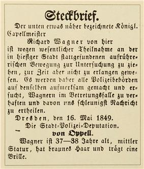 A printed notice in German with elaborate Gothic capitals. Wagner is described as 37 to 38 of middle height with brown hair and glasses.