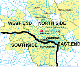 Manchester as situated in present-day Richmond