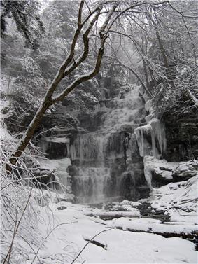 A very tall waterfall in the midst of snow-covered rocks and trees