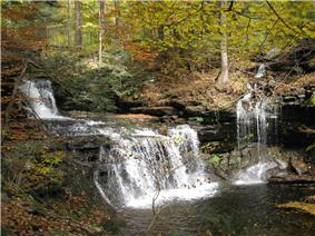 A double cascade waterfall at left and a smaller single cascade at right, both in a lush forest</center>