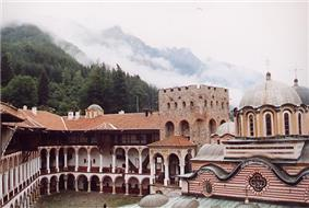 Colour photo of the Rila Monastery