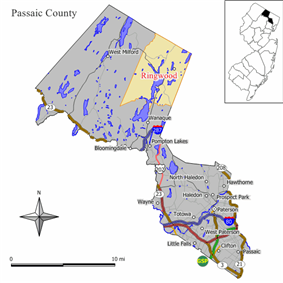 Map of Ringwood in Passaic County. Inset: Location of Passaic County highlighted in the State of New Jersey.