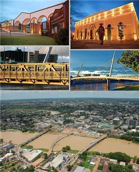 Rio Branco, Top left:Maternidade Park, Top right:Mercado Velho (Old Market) theme park, Middle left:JK Bridge, Middle right:A walkway in Passarela Joaquim Macedu theme park, Bottom:Panorama view of Acre River and downtown Benjamin Constant area
