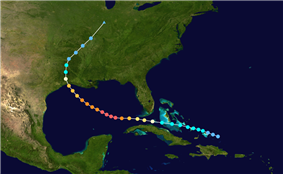 The path of a tropical cyclone on a map as represented by colored dots. Each dot represents the storm's intensity at six-hour intervals.