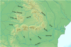 Map of rivers in Romania