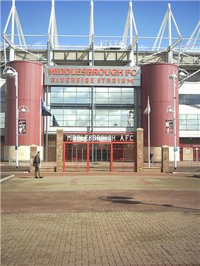 The gates at the entrance to Middlesbrough's Riverside Stadium