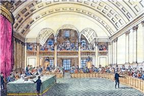 A colored drawing depicting small figures seated in a semi-circle around a table draped in green cloth under a canopy inside a large, vaulted room