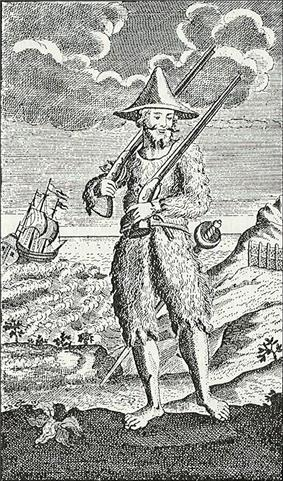 Engraving of Robinson Crusoe standing on the shore of an island, dressed in hair-covered goatskin clothing