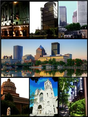 (Clockwise from top left) the Eastman Theater, First Federal Plaza, Corporate high-rises in Downtown Rochester, eastern half of the city skyline on the Genessee river, Grove Place neighborhood, Sacred Heart Cathedral, Rush Rhees Library at the University of Rochester