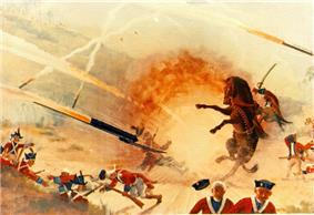 painting depicting attack by modern weapon resulting in army getting blasted