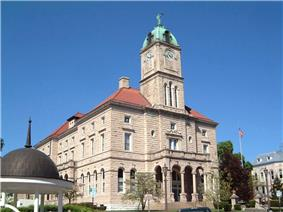 Rockingham County Courthouse in Court Square in downtown Harrisonburg