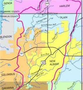 The course of the Rocky Fork Creek in New Albany (yellow) and Plain Township (blue), in the northeastern corner of Franklin County