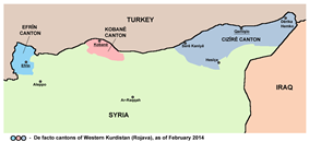 Map showing de facto cantons held by PYD forces in February 2014
