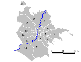 Map of the municipi of Rome