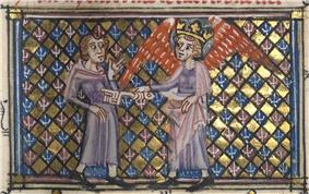 Roman de la Rose (f. 15r.b) The Godess of Love locks the Lover's heart.jpg