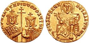 Obverse (right) and reverse (left) view of gold coin. On the obverse, Christ seated on throne. On the reverse, two crowned men, one bearded and one not, holding a patriarchal cross on a staff between them.