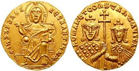 Obverse and reverse of a gold coin, showing Christ enthroned and two crowned rulers jointly holding a cross