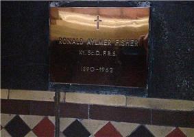 Memorial plaque Ronald Aylmer Fisher 1890-1962