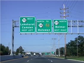 A six-lane divided highway approaching an intersection with a set of three green signs over the roadway. The left sign reads Route 70 west Lakehurst Camden keep left, the middle sign reads north Route 34 to Garden State Parkway Matawan, and the right sign reads Route 35 north Belmar next right.
